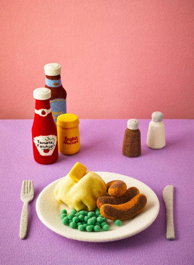 Alimentos feitos com lã por Jessica Dance;