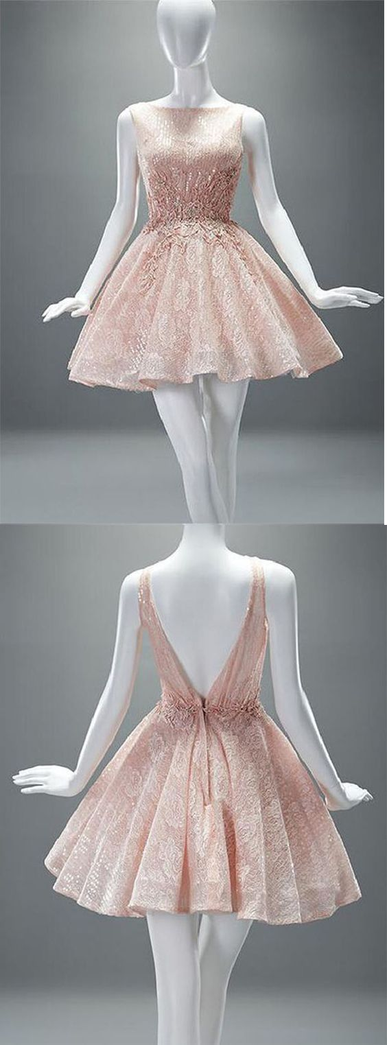 New arrival sexy open back homecoming dressshort lace prom dress