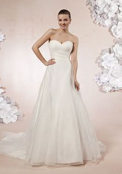 Concise Organza A line Chapel Train Sweetheart Bridal Gown - Angeldress.co.uk