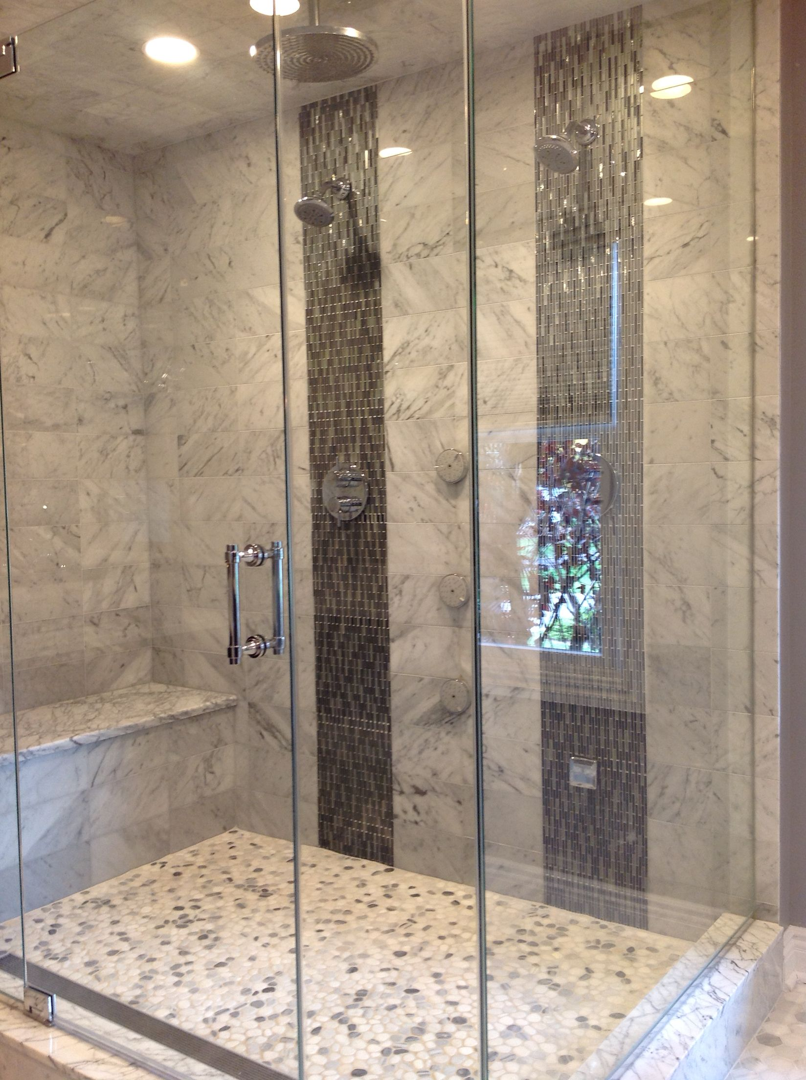 Mirror Mosaic Shower Wall Marble Shower Large Shower Master