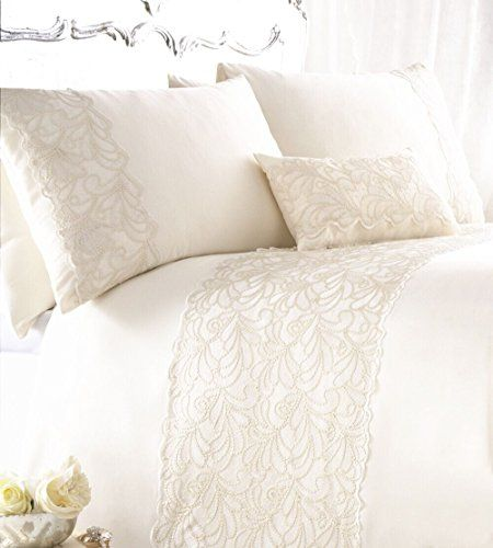 ZIGGUO White Duvet Cover Set Queen with Lace and Soft Seq ...