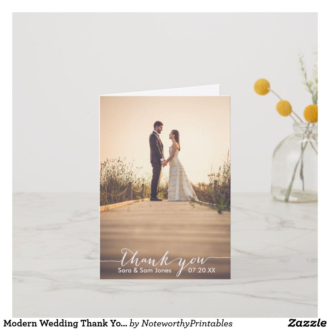 modern wedding thank you card  typography overlay