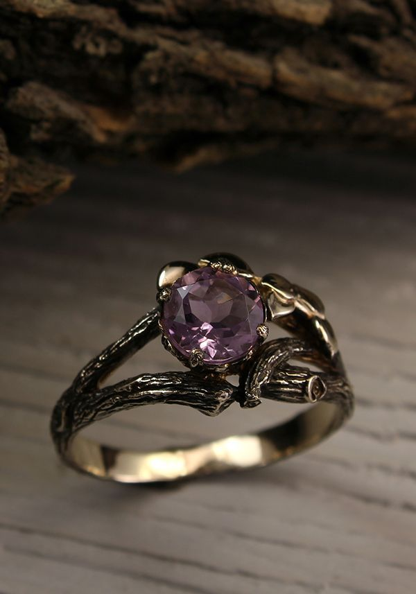 Twig gold engagement ring with Amethyst and Diamonds, Women's twig and leaves ring, Tree bark engagement ring, Amethyst ring, Gift for bride