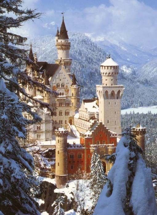 Neuschwanstein Castle in Germany.  This is the castle Walt Disney replicated the Disney castle from years ago.  It's so much more beautiful than this photo.