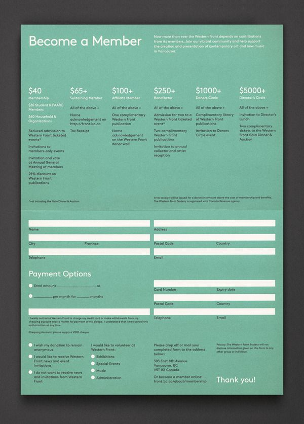 Western Front Membership : Post Projects — Designspiration