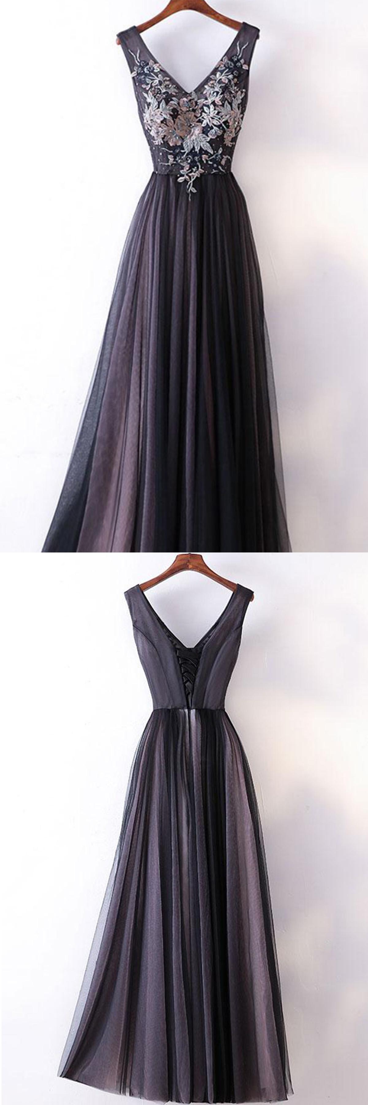Spring black tulle v neck long embroidery evening dress long black