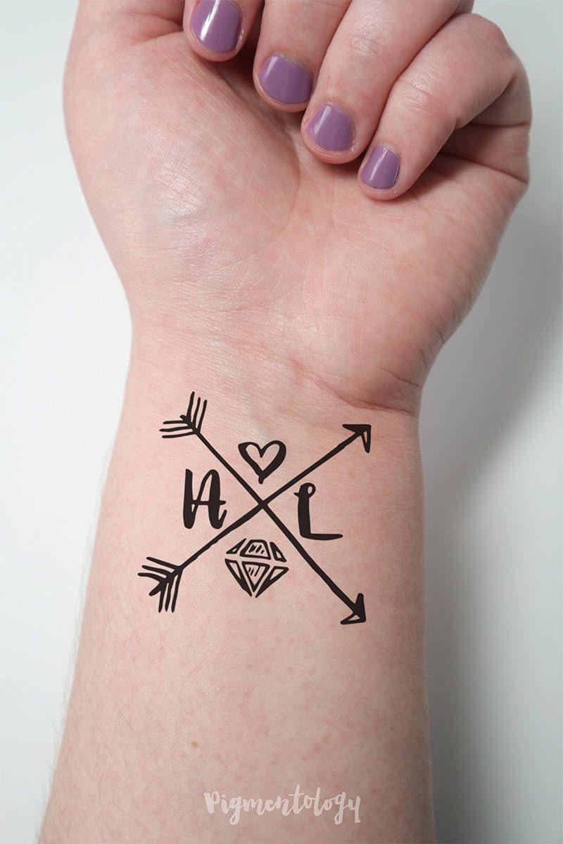 Custom Hand Drawn Monogram Temporary Tattoo Bachelorette Party Favor ...