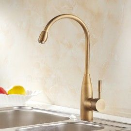 Stev Antique Brass Kitchen Faucet With Water Filtering