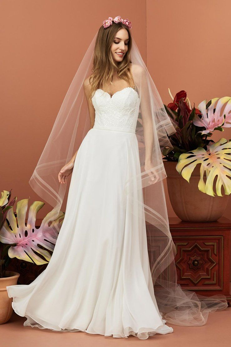 705d978bde4 Wtoo by Watters 11700B Gertrude Strapless Lace and Chiffon A-Line Wedd –  Off White