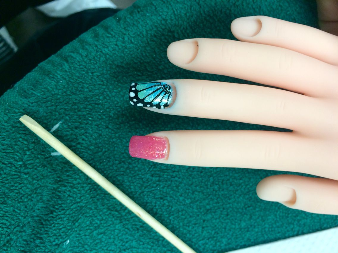 Butterfly accent nail over fiberglass wrap on my mannequin hand   my ...
