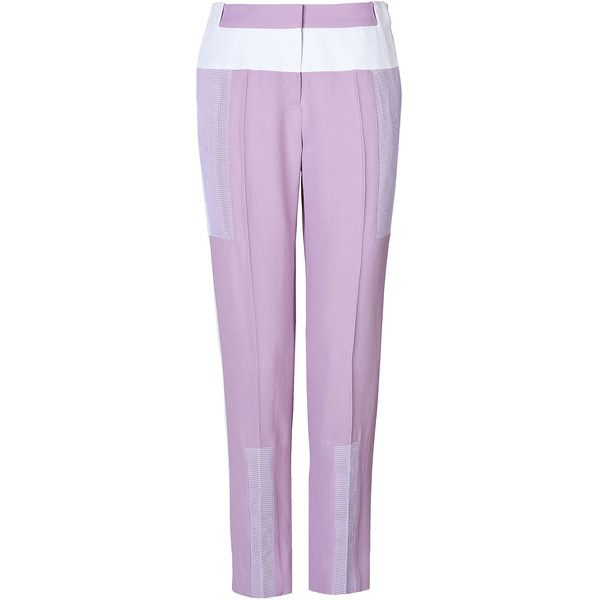 Prabal Gurung Colorblock Cropped Pants ($275) ❤ liked on Polyvore featuring pants, capris, purple, trousers, pink crop pants, color block pants, pink pants, prabal gurung and cropped trousers