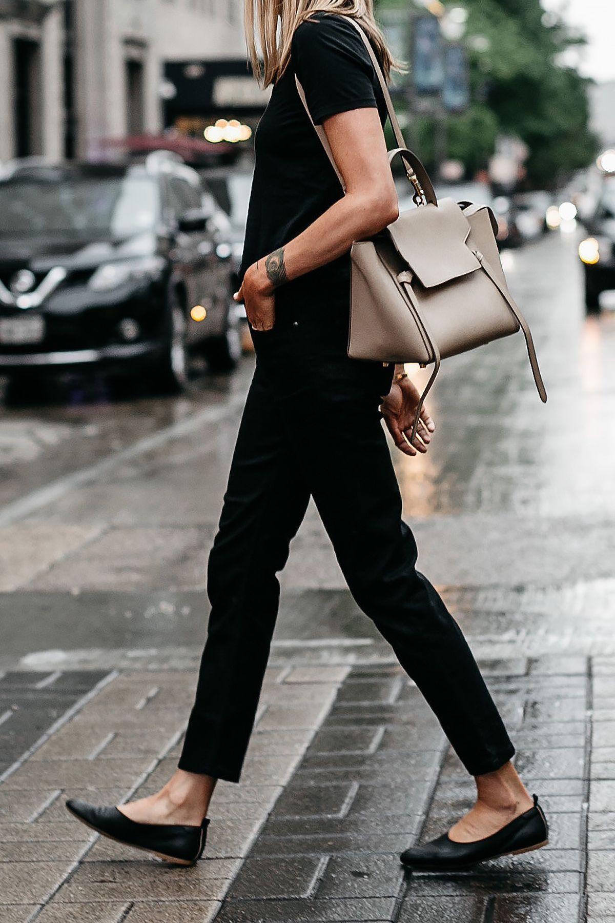 Woman Wearing Everlane Black Tshirt Everlane Black Boyfriend Jeans Everlane  Black Day Glove Flats Celine Mini Belt Bag Fashion Jackson Dallas Blogger  ... fc337581b04e3