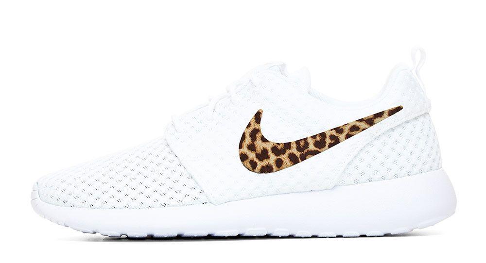 2017 glitter kicks Nike Roshe One Hand Customized Cheetah Print Swoosh  White White 47a3e24eb