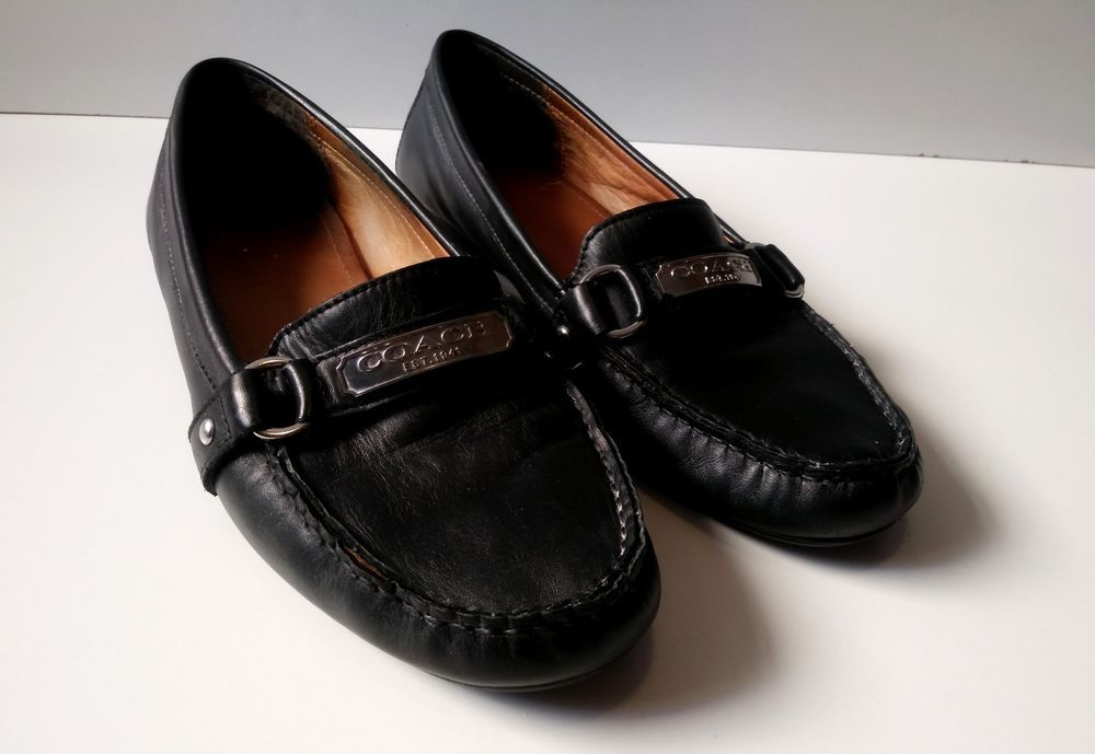 5447acf765c Coach Women s Black Leather Felisha Slip On Flat Loafers Size 10B  Coach   Loafers
