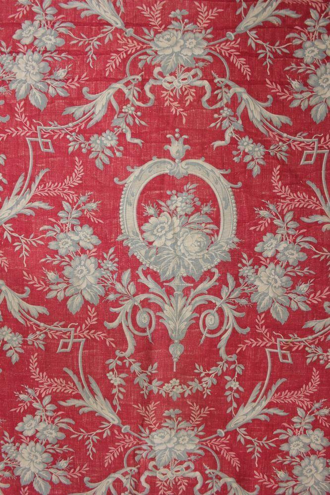 Antique English Block printed fabric material c1850 toile Rococo Christmas | eBay