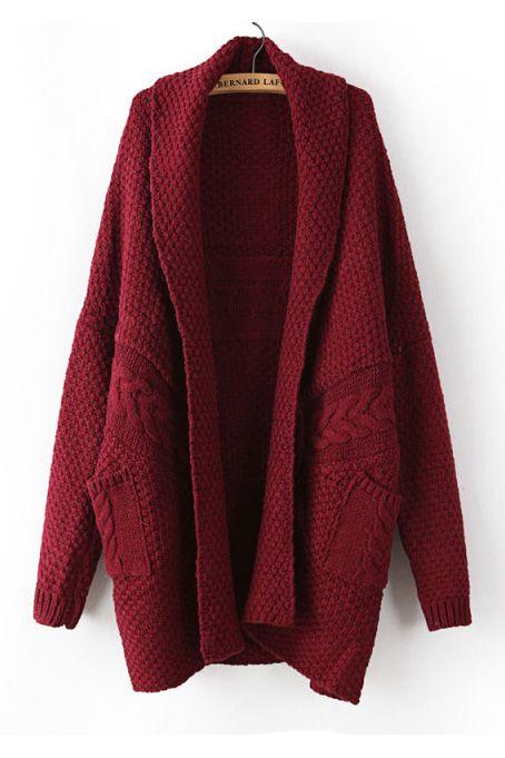Large Version twist weave sweater cardigan bordeaux   Mode