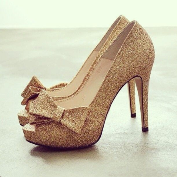 Glitter Gold Heels with Bows  Sparkly Heels   Glitzy Heels   Gold High  Heels   Glitter cb1f00f79d