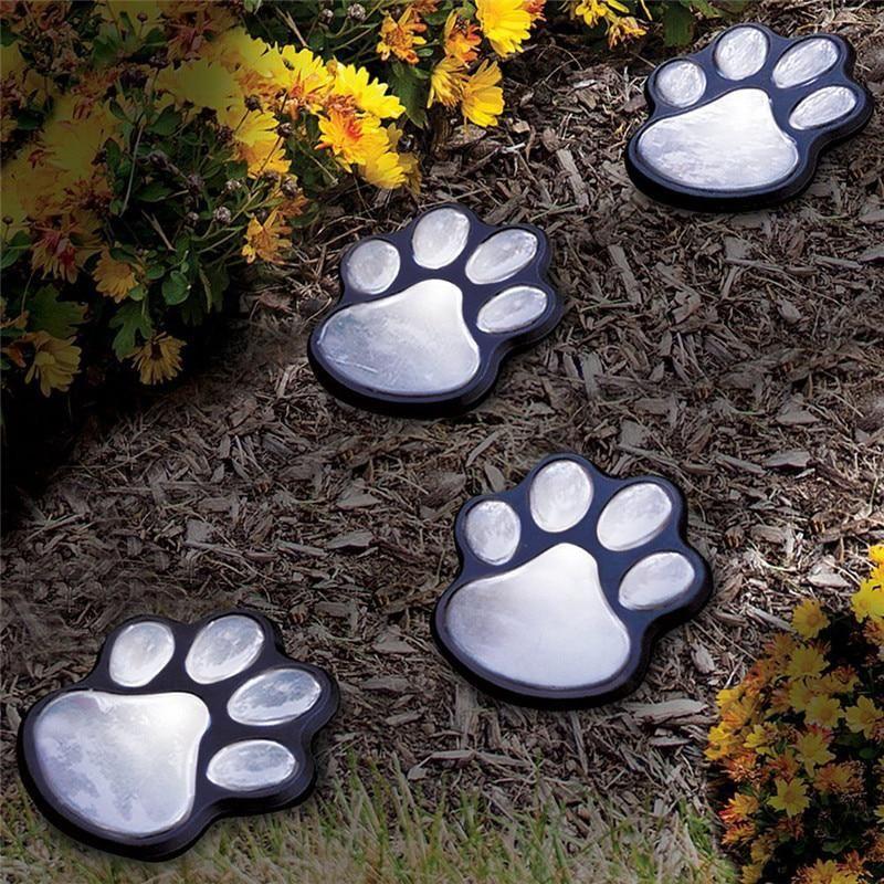 4 Dog Animal Paw Print Lights Garden Walkway Solar Powered Outdoor Landscape LED
