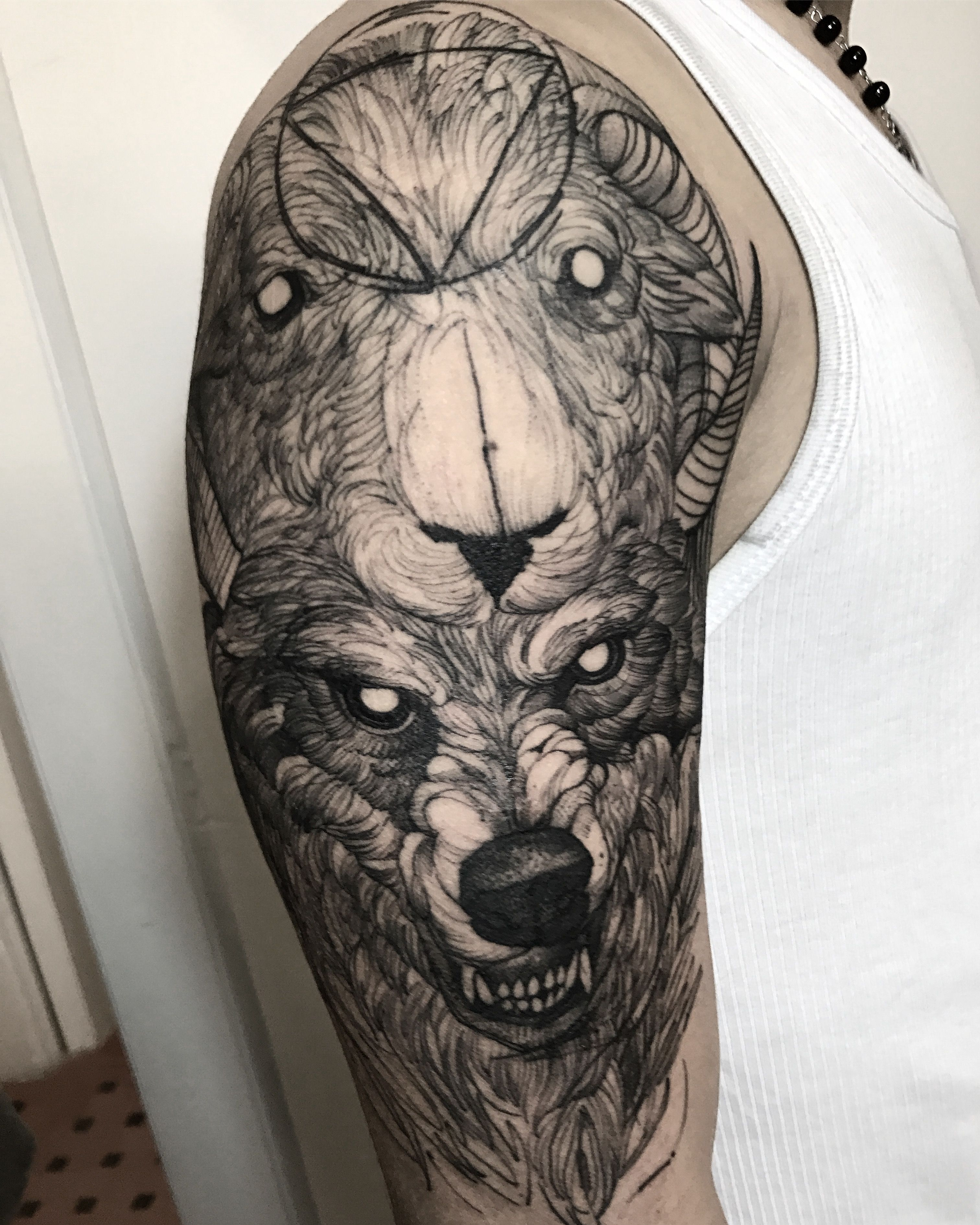 605594f09 Sheep and wolf skin. Fredao oliveira | WOLVES|DOGS|PETS | Tattoos ...