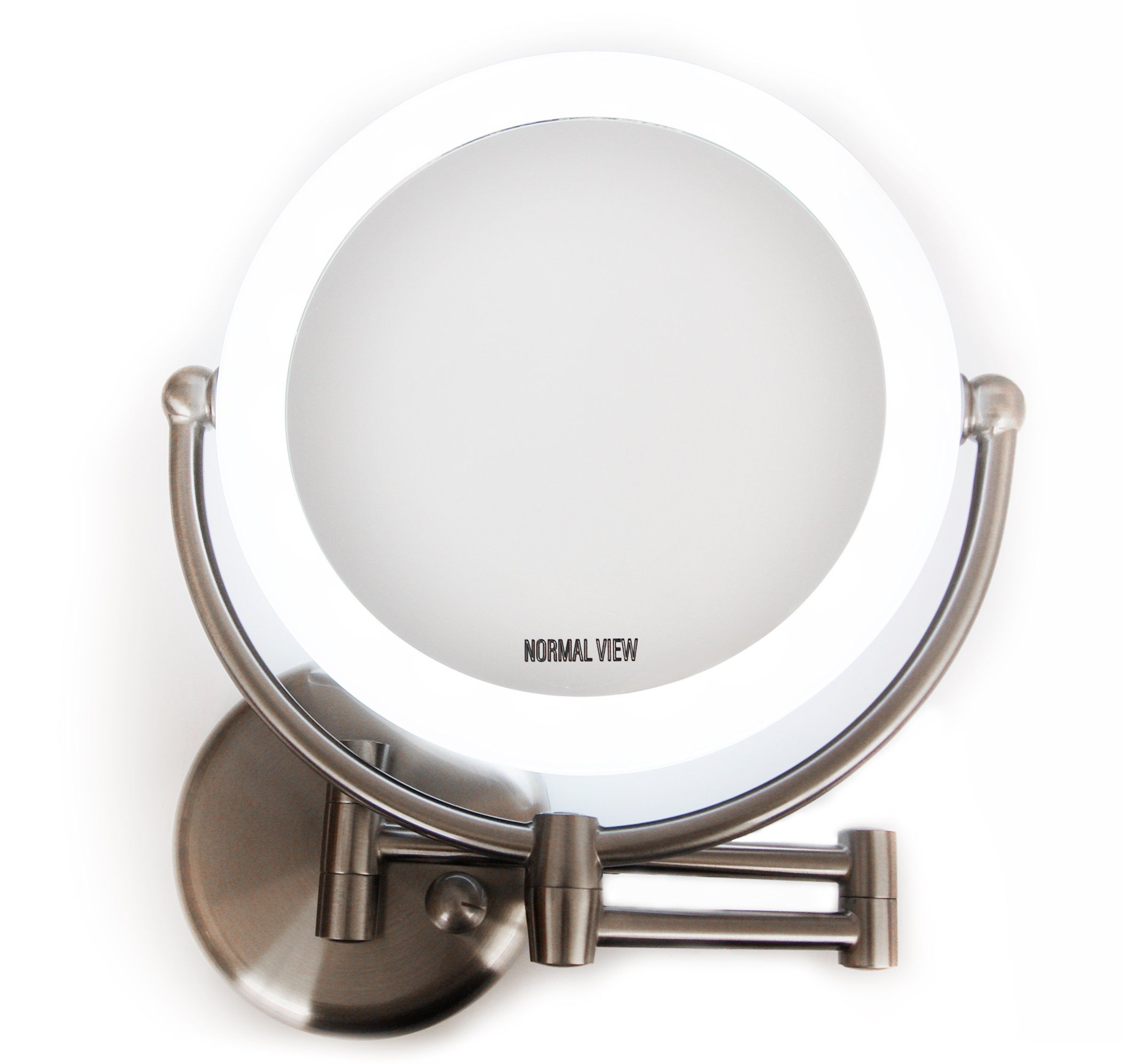 Wall Mount Led Lighted Makeup Mirror Ac Adaptor 10x 1x Magnification Satin Nickel Finish 8 6d With Images Wall Mounted Makeup Mirror Makeup Mirror Magnification Mirror
