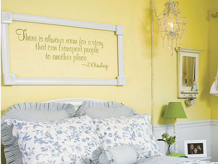 Frame a wall quote: Cut pieces of wood trim to fit around the quote ...
