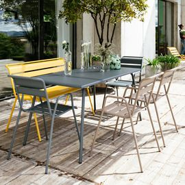Salon de jardin Fermob Monceau : Table l146 L80cm + 6 ...