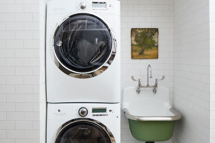 Laundry area off the Food52 staff kitchen in NYC designed by Brad Sherman | Remodelista
