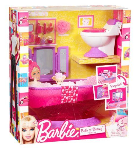 amazon: barbie bath to beauty bathroom set: toys & games