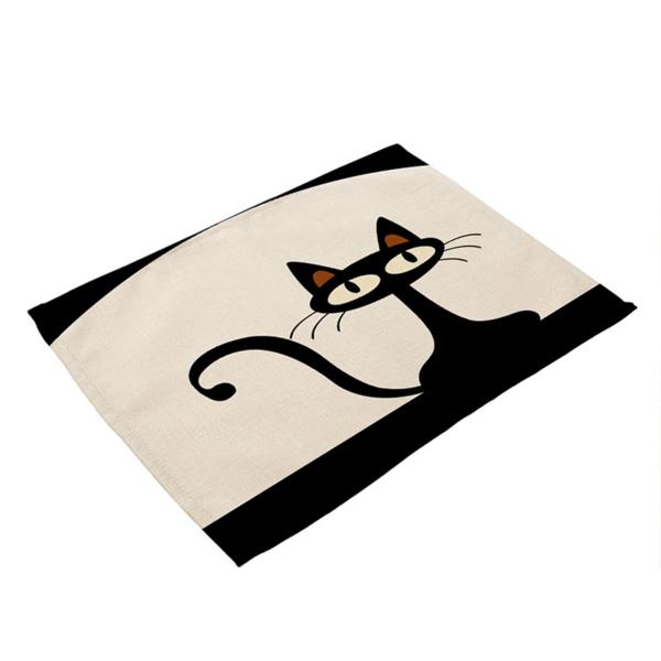 Le Chat Noir Dining Tables Place Mat 4 Varients Minimalist Cat Print Patterned Linens Linen Placemats