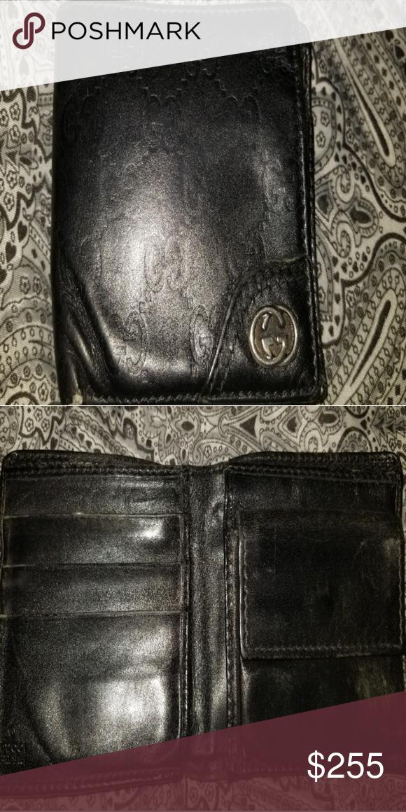 bb76f0fbd9f Gucci fold black silver leather gg monogram Wallet Black gucci signature  monogram embossed Buffed leather bifold