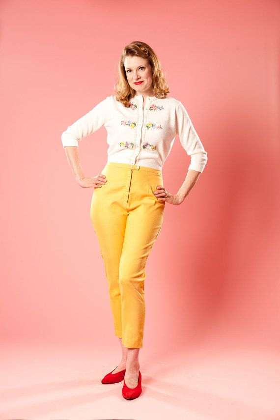 21ebe9db746 Vintage 1950s Yellow Capri Pants High Waisted Cigarette Pants -- i love  that cardigan.
