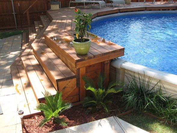 Our backyard oasis a creative way to install an above for Above ground pool decks for small yards