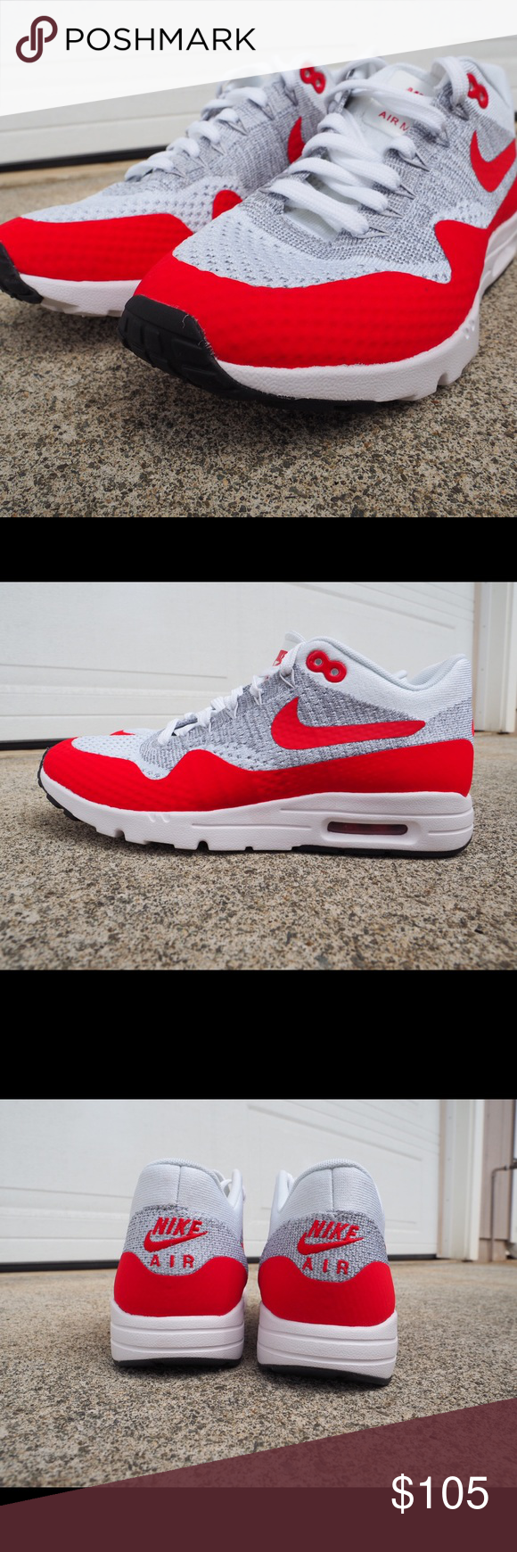 Nike Air Max 1 Ultra Flyknit Womens SZ 8 White Red Air max, Shoes