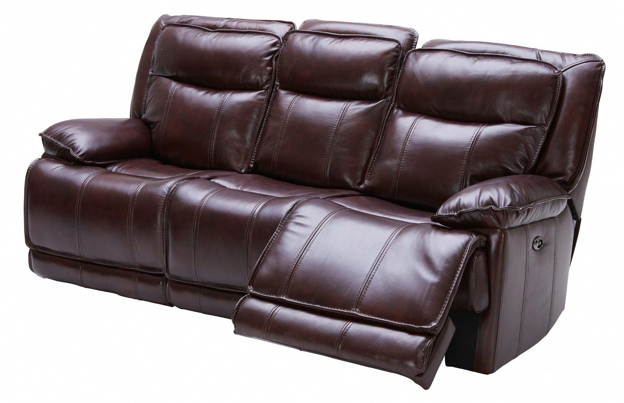 Burgundy Leather Match Reclining
