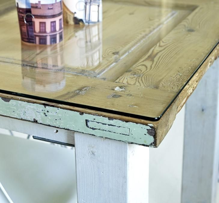 High Quality Glass Top For My Vintage Door Kitchen Table.thinking About Doing This In  Our Kitchen:)