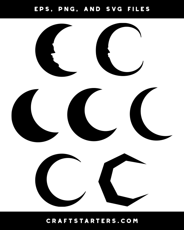 Crescent Moon Silhouette Clip Art Moon Silhouette Crescent Moon Art Silhouette Clip Art