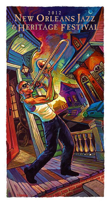 2012 NOLA Jazz Fest poster - featuring Trombone Shorty
