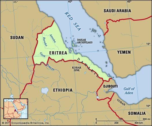 Eritrea physical features map Encyclopedia Britannica
