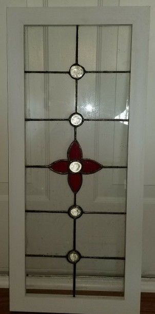 Old English Charm: Old English Stained Glass Window - Red