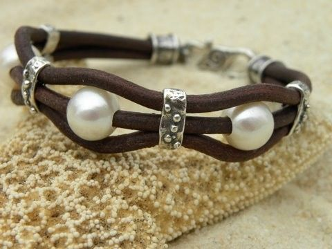 Pearls Artisan Sterling Silver and Chocolate Leather