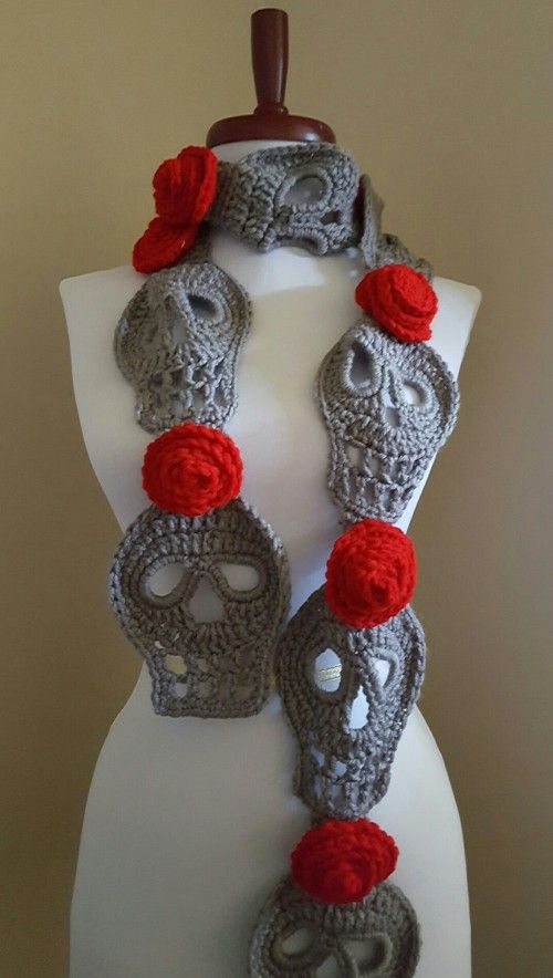 Sugar Skull Scarf Day of the Dead Crochet Art Scarf Neck Wrap | Dia ...