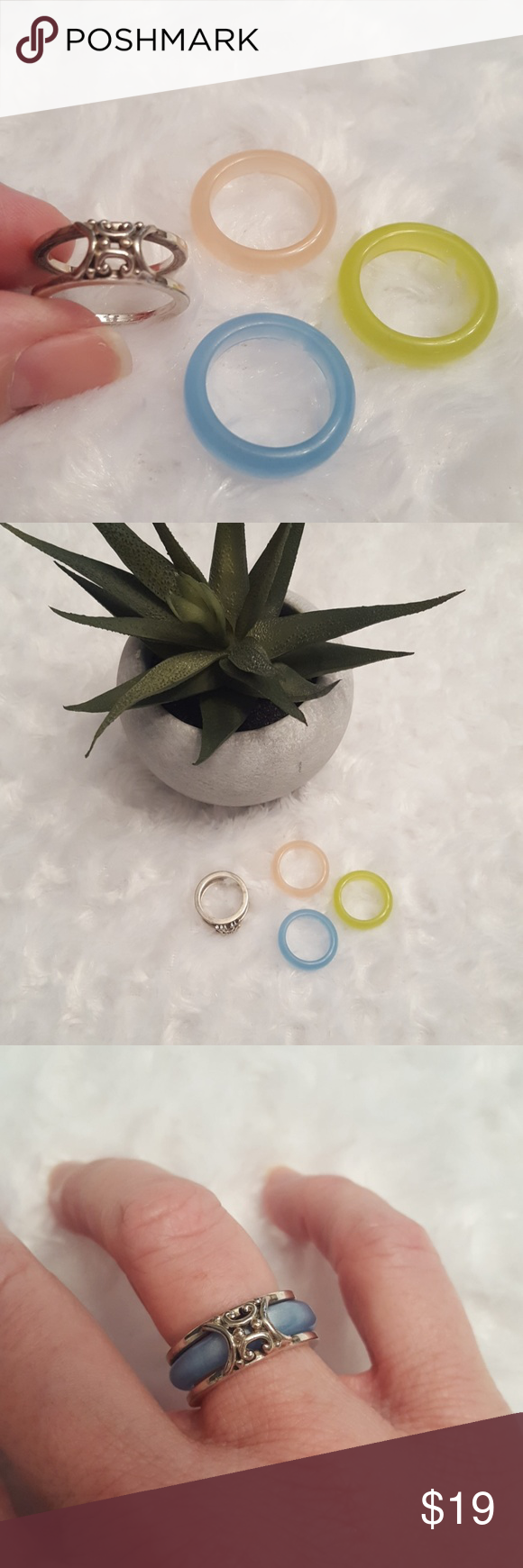 What a cute concept!!  Silver ring. This super cute silver ring has 3 interchangeable plastic colored Rings including pale pink, light blue, and lime green to change to match your outfits! Jewelry Rings