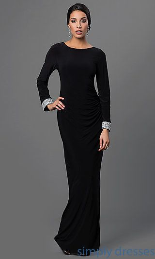 Marina Long-Sleeve Black Backless Gown | Prom dresses, Formal ...