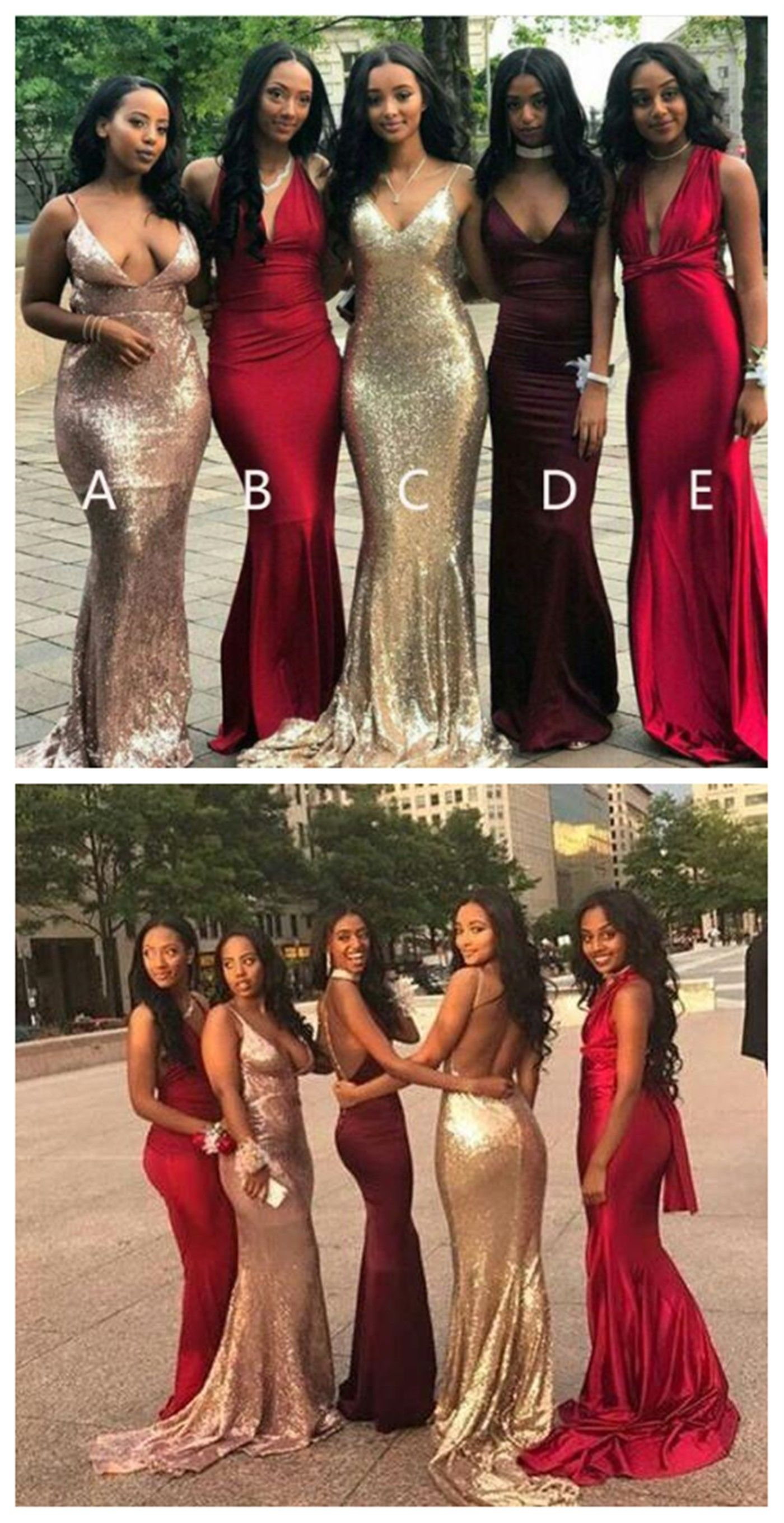 Mismatched long sequin mermaid bridesmaid dresses cheap custom