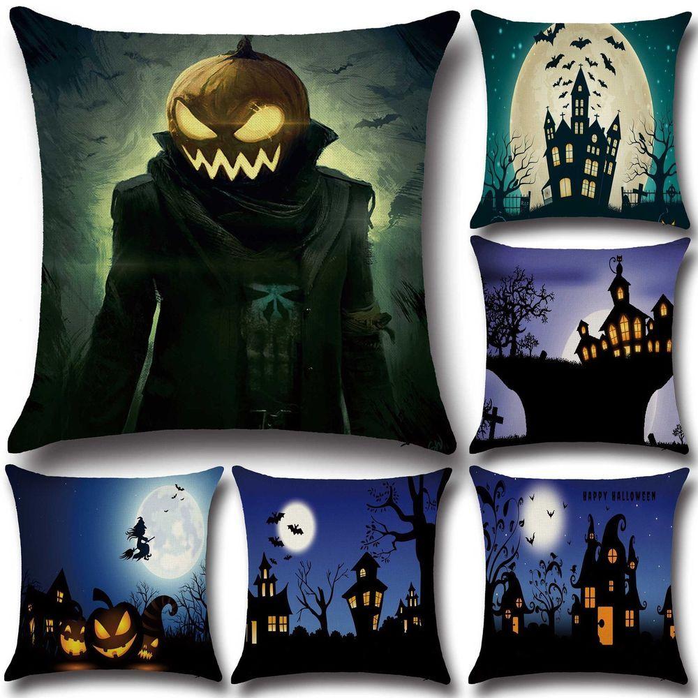 Home decor zip halloween horror house printing linen cushion pillow