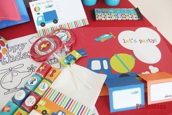 Transport Geburtstagsparty Dekorationen zum ausdrucken  Boy Birthday Party  Flugzeuge Züge  Transport Geburtstagsparty Dekorationen zum ausdrucken  Boy Birthday Part...