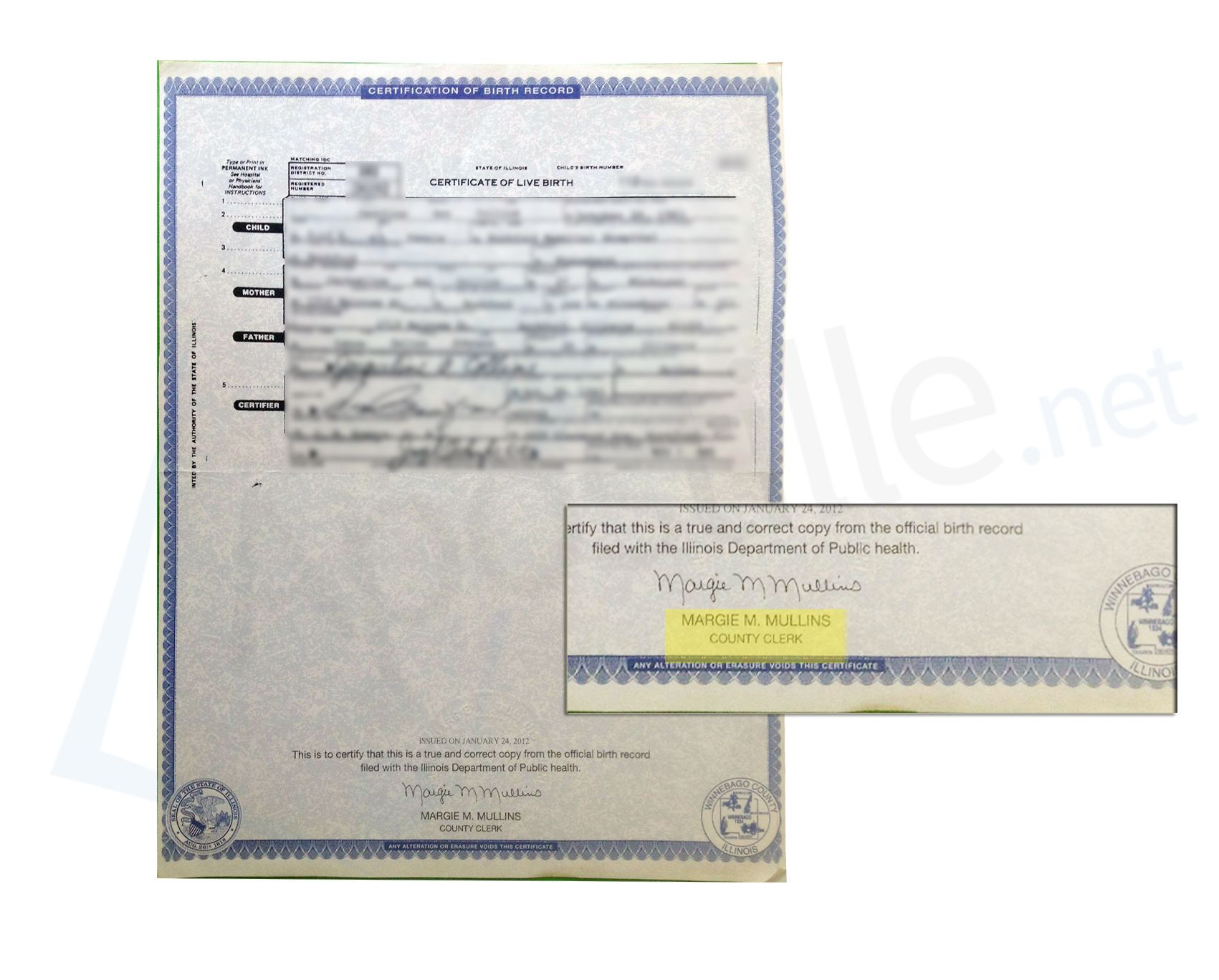 23 best state of illinois sample apostille images on pinterest county of winnebago state of illinois birth certificate signed by margie m mullins xflitez Choice Image