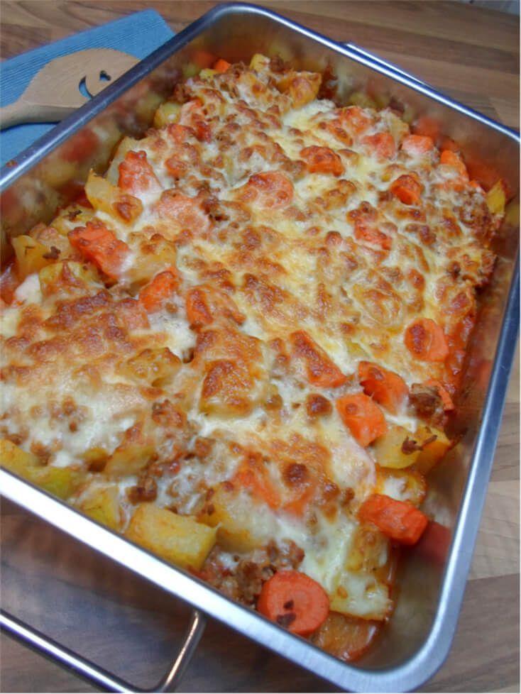 Low Carb Kohlrabi Karotten Hackfleisch Auflauf - Leckeres Rezept   - kochen -