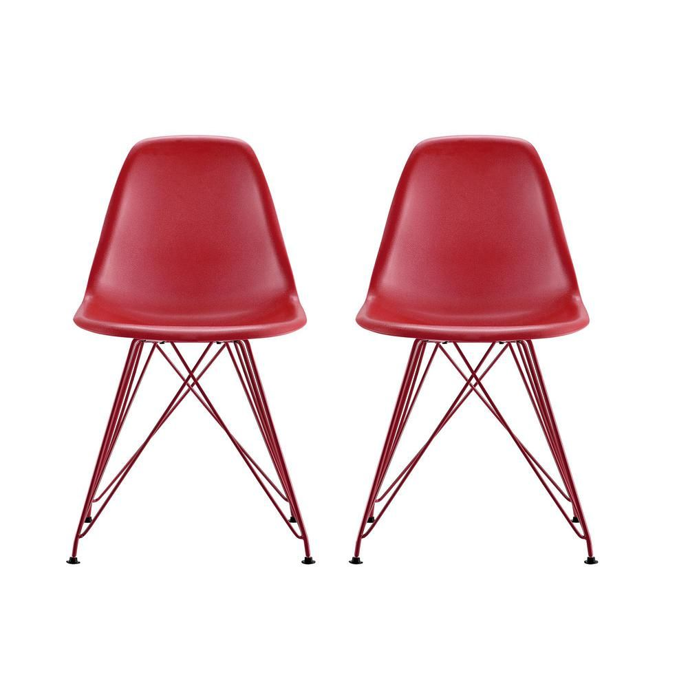 Dhp Evelyn Red Mid Century Modern Molded Chair With Colored Leg
