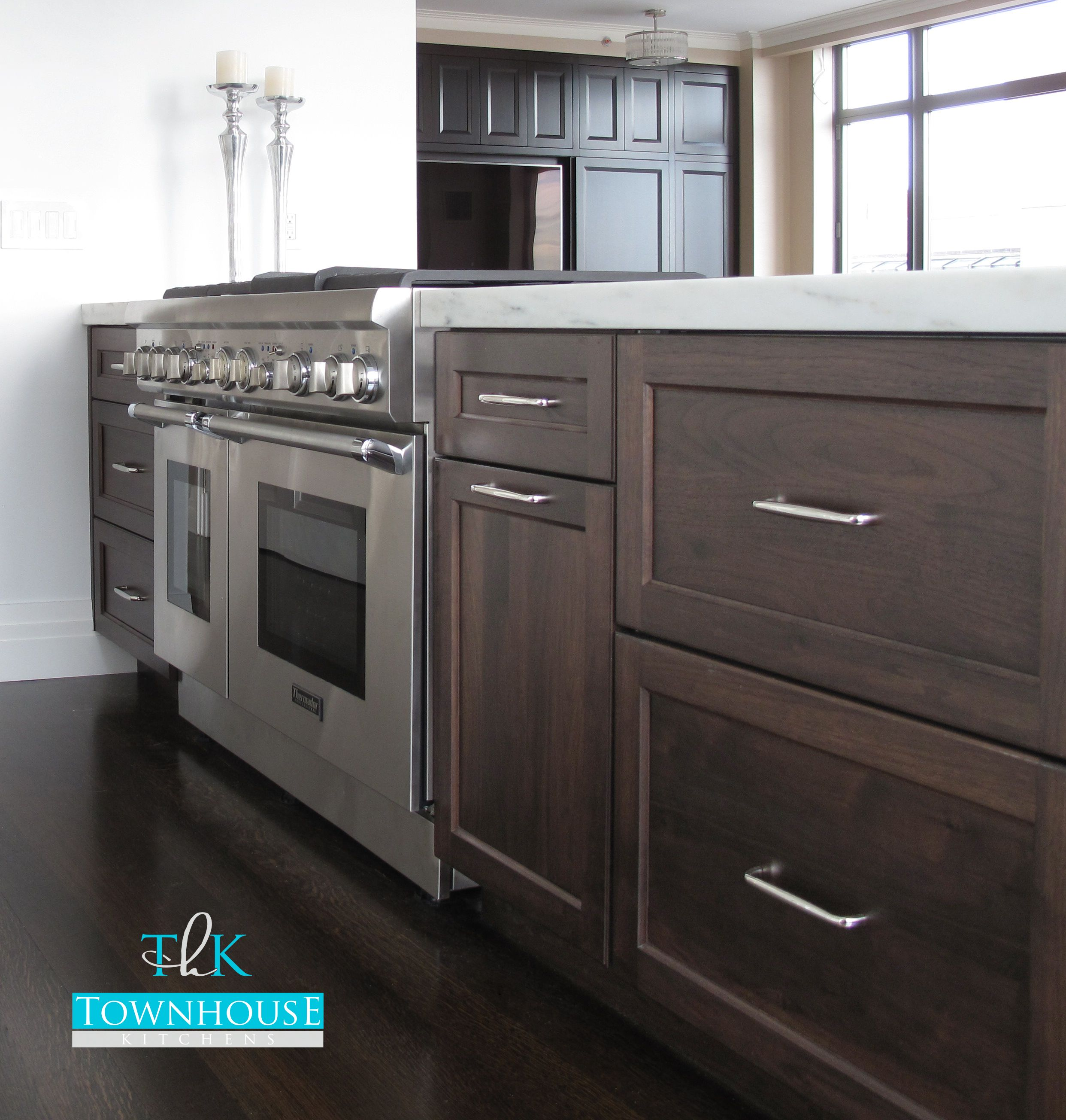 Custom Kitchen Design Walnut Cabinetry With Stainless Steal Appliances And 2 Thick Imperial Danby Marbl Uptown Kitchen Kitchen New York Contemporary Kitchen